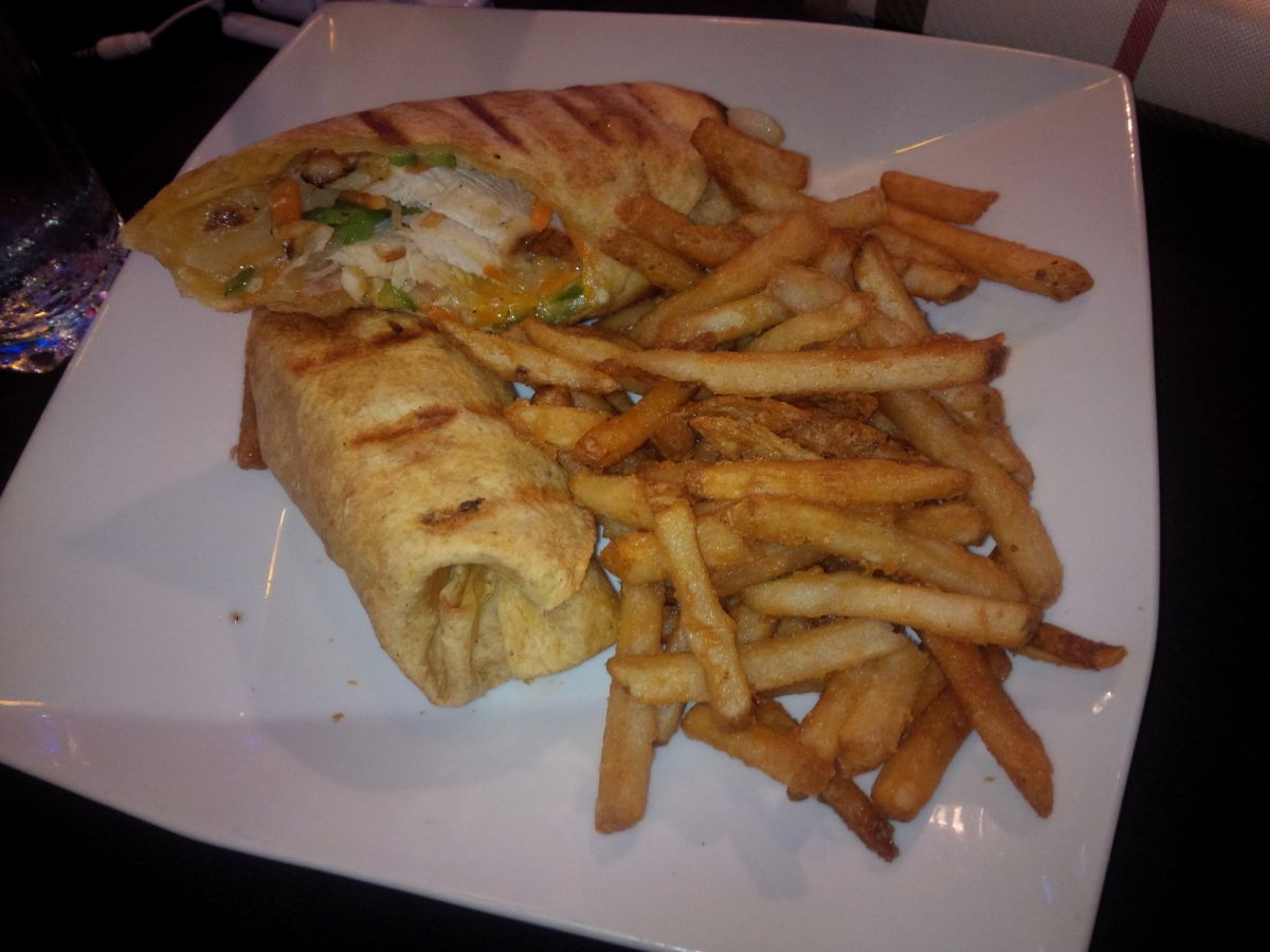 Chicken Wrap and Fries