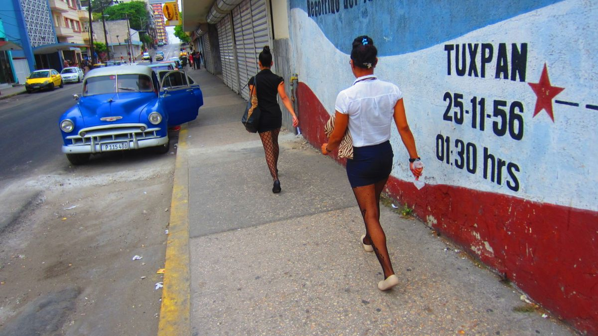Fishnet stockings are an essential part of the work dress code in Cuba